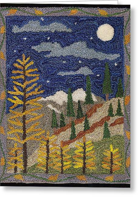 Primitive Tapestries - Textiles Greeting Cards - Autumn In The Mountains Greeting Card by Jan Schlieper