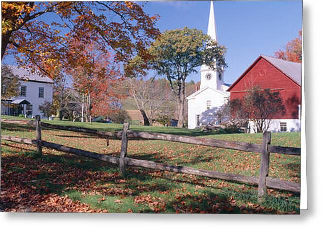 Small Towns Greeting Cards - Autumn In Village Of Peacham, Vermont Greeting Card by Panoramic Images