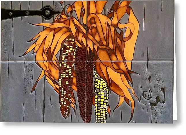 Barn Door Greeting Cards - Autumn Indian Corn Greeting Card by Judith Killgore