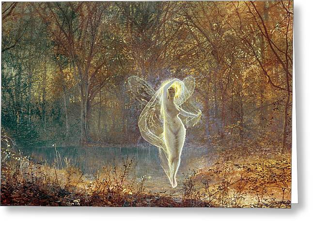 Grimshaw; John Atkinson (1836-93) Greeting Cards - Autumn Greeting Card by John Atkinson Grimshaw
