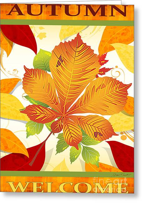 Vine Leaves Greeting Cards - Autumn-JP2759 Greeting Card by Jean Plout