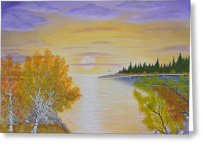 Lanscape Paintings Greeting Cards - Autumn Lake Sunset  Greeting Card by Georgeta  Blanaru