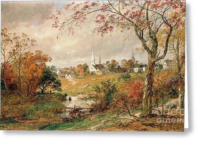 Brown Leaves Greeting Cards - Autumn Landscape Greeting Card by Jasper Francis Cropsey