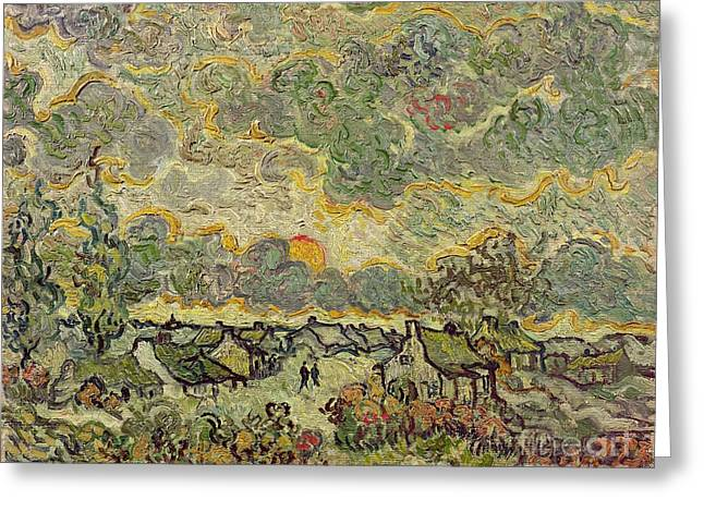 Provence Village Greeting Cards - Autumn Landscape Greeting Card by Vincent Van Gogh