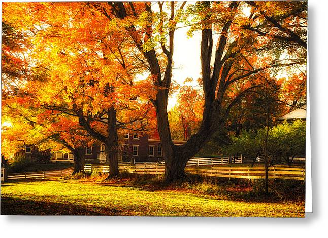 New England Village Greeting Cards - Autumn Lane Greeting Card by Robert Clifford
