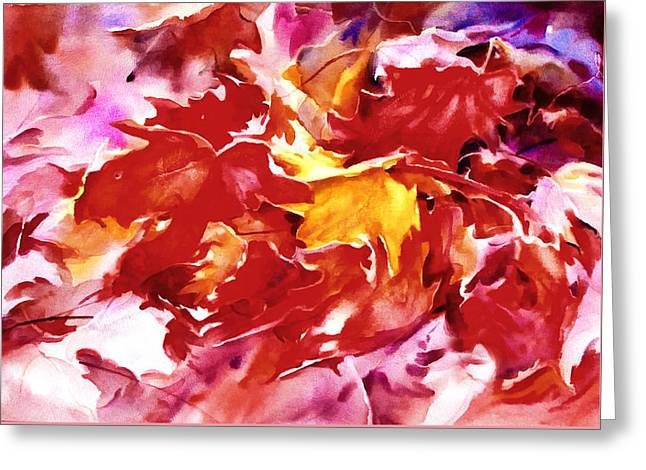 Autumn Leaves Abstract Greeting Card by Georgiana Romanovna
