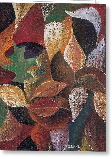 Black Artist Greeting Cards - Autumn Leaves Greeting Card by Ikahl Beckford