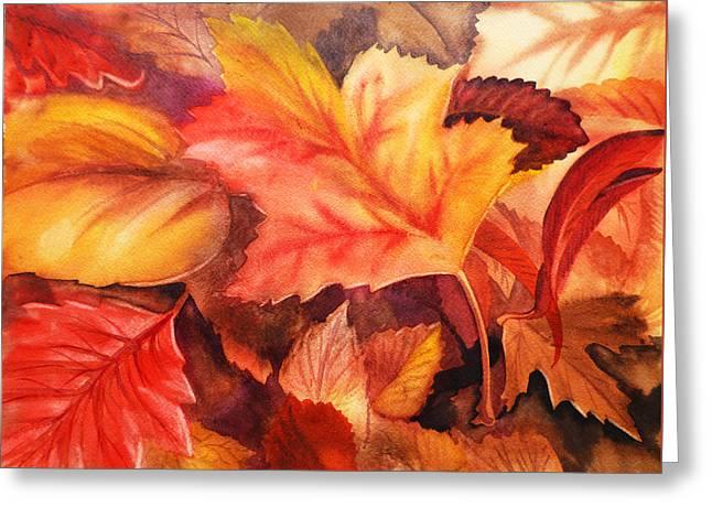 Thanksgiving Art Greeting Cards - Autumn Leaves Greeting Card by Irina Sztukowski