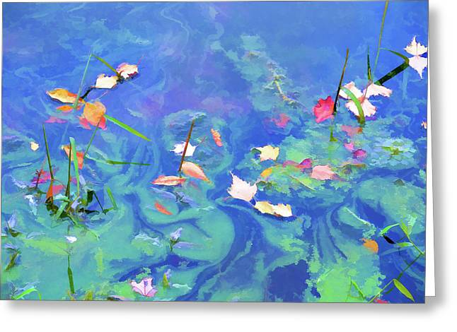 Autumn Leaf On Water Paintings Greeting Cards - Autumn leaves on water 2 Greeting Card by Lanjee Chee