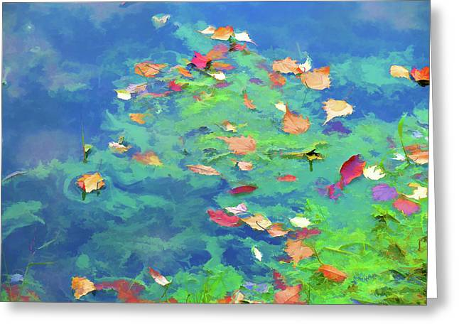 Autumn Leaf On Water Paintings Greeting Cards - Autumn leaves on water 3 Greeting Card by Lanjee Chee