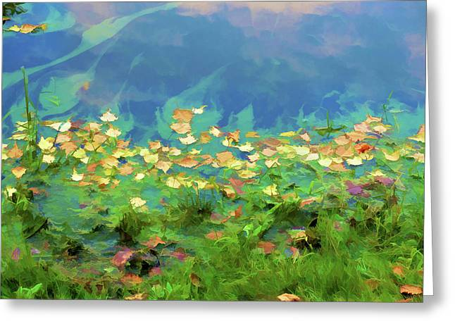 Autumn Leaf On Water Paintings Greeting Cards - Autumn leaves on water 5 Greeting Card by Lanjee Chee