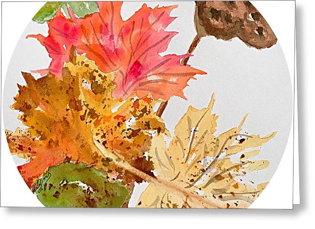 Autumn Leaves Still Life Round  Greeting Card by Ellen Levinson