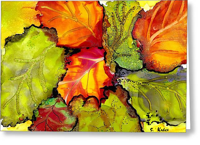 Autumn Leaves Greeting Card by Susan Kubes