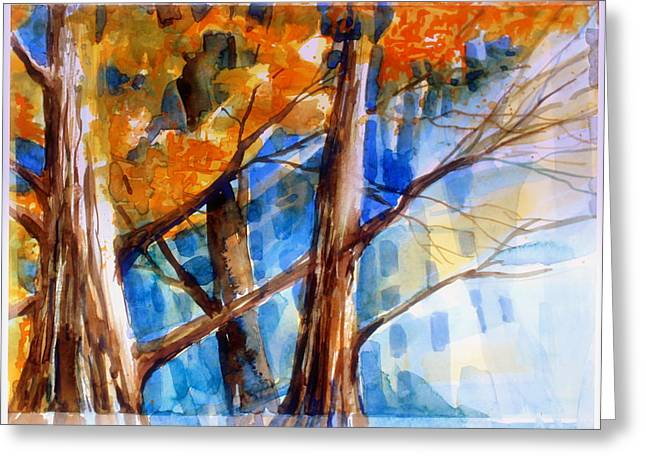 Wild Life Drawings Greeting Cards - Autumn Light Greeting Card by Mindy Newman