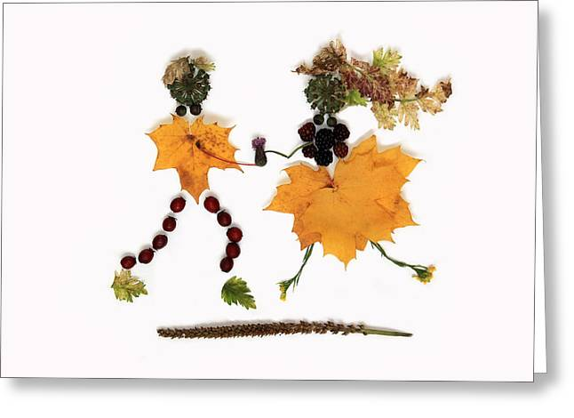 Fancy-dancer Mixed Media Greeting Cards - Autumn Lovers Greeting Card by Kerry Conway