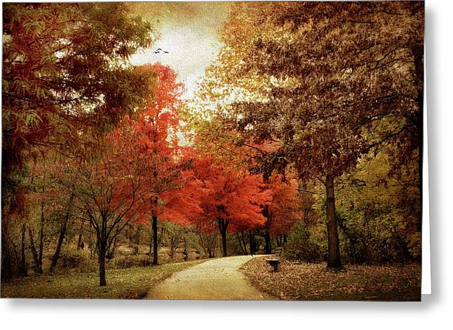 Path Greeting Cards - Autumn Maples Greeting Card by Jessica Jenney