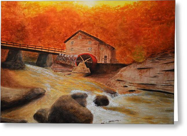 Salmon Paintings Greeting Cards - Autumn Mill Greeting Card by Ken Figurski