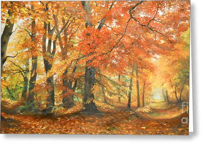 Landscape Framed Prints Greeting Cards - Autumn mirage Greeting Card by Sorin Apostolescu