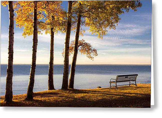 Autumn Morn On The Lake Greeting Card by Mary Amerman