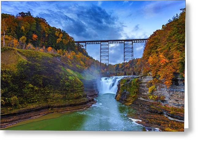 Autumn Morning At Upper Falls Greeting Card by Rick Berk