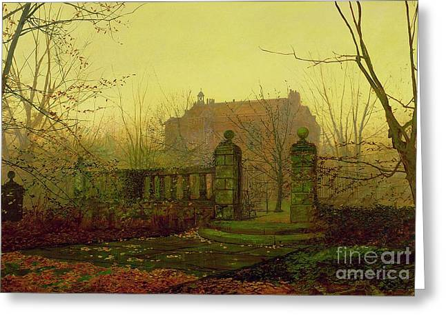 Morn Greeting Cards - Autumn Morning Greeting Card by John Atkinson Grimshaw
