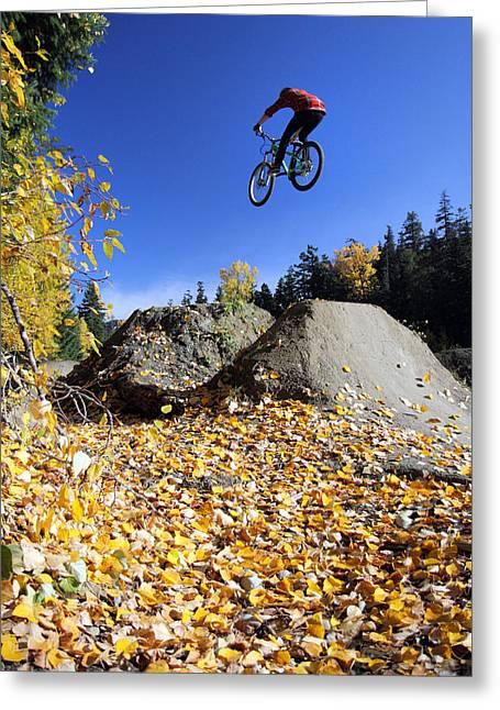 Whistler Greeting Cards - Autumn mountain bike in Whistler Greeting Card by Pierre Leclerc Photography