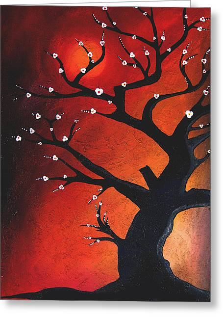 Picasso Mixed Media Greeting Cards - Autumn Nights - Abstract Tree Art by Fidostudio Greeting Card by Tom Fedro - Fidostudio