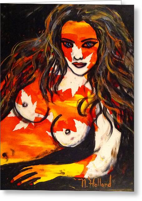 Reds Of Autumn Mixed Media Greeting Cards - Autumn Nude Greeting Card by Natalie Holland