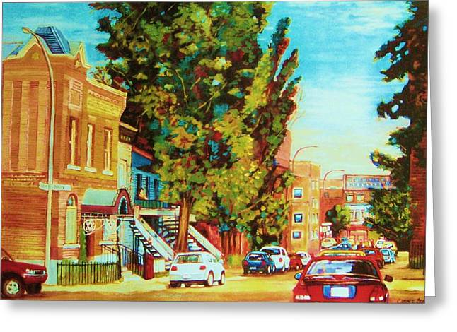 Montreal Streets Greeting Cards - Autumn On Bagg Street Greeting Card by Carole Spandau