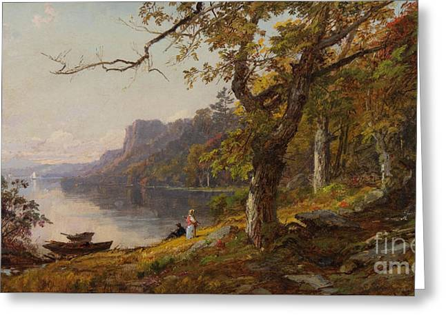 Cropsey Greeting Cards - Autumn on the Hudson Greeting Card by Celestial Images