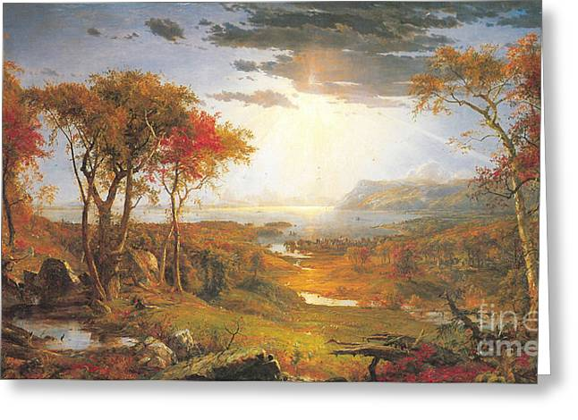Autumn On The Hudson Rive Greeting Card by Celestial Images