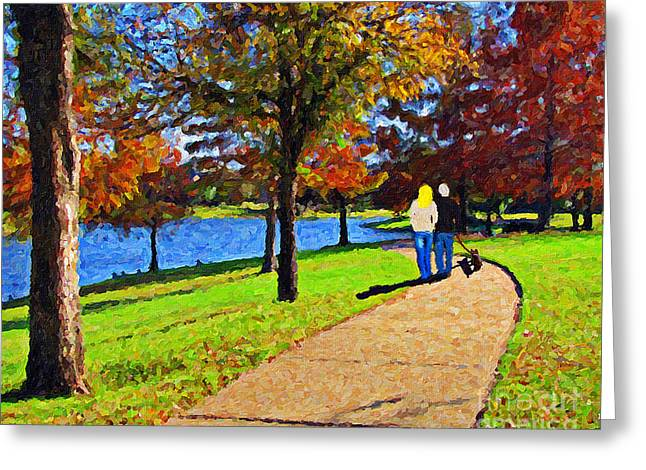 Fall Colors Greeting Cards - Autumn Park Stroll Greeting Card by Le Artman