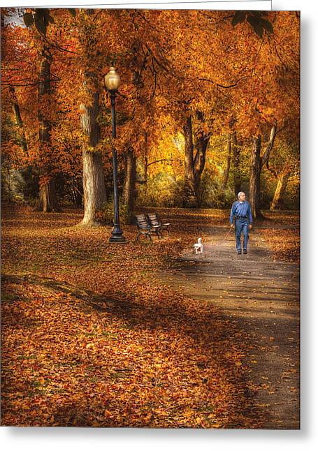 Dog Walker Greeting Cards - Autumn - People - A walk in the park Greeting Card by Mike Savad