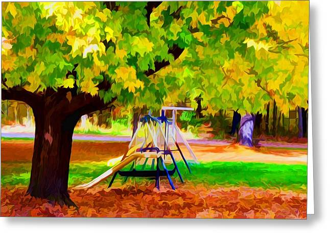 Autumn Playground 1 Greeting Card by Lanjee Chee