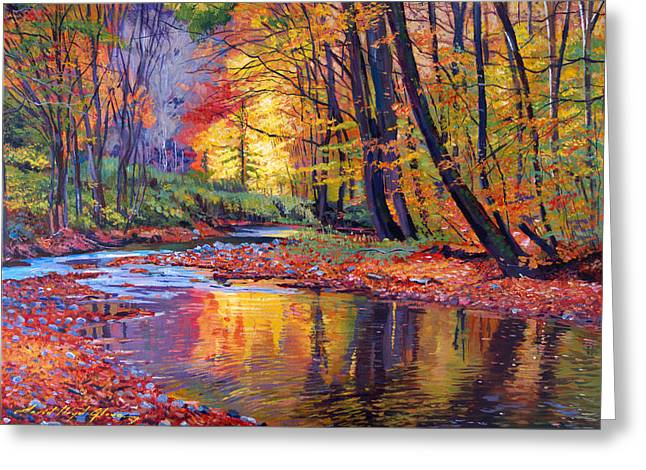 Stream Greeting Cards - Autumn Prelude Greeting Card by David Lloyd Glover