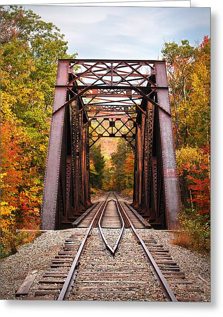 Autumn Railroad Trestle Greeting Card by Eric Gendron