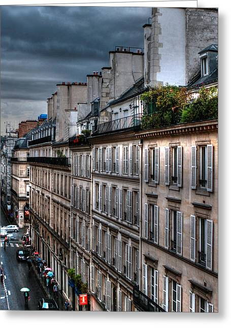 Green Umbrellas Greeting Cards - Autumn Rain Paris France Greeting Card by Tom Prendergast