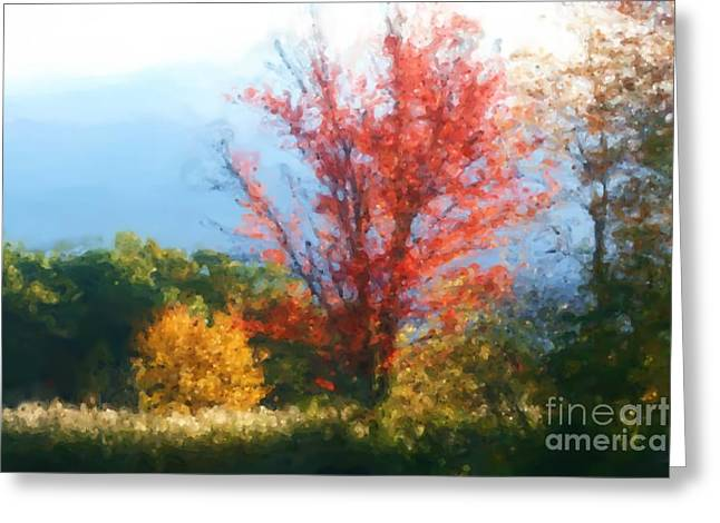 """photo Manipulation"" Pastels Greeting Cards - Autumn Red And Yellow Greeting Card by Smilin Eyes  Treasures"