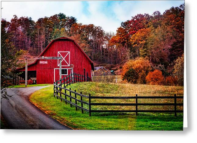 Autumn Red Barn Greeting Card by Debra and Dave Vanderlaan