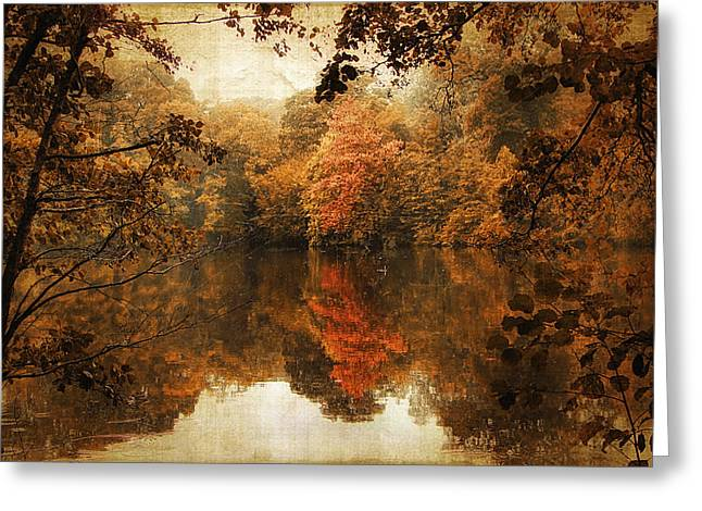 Ladnscape Greeting Cards - Autumn Reflected Greeting Card by Jessica Jenney
