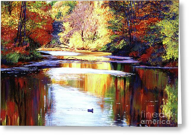 Lake Paintings Greeting Cards - Autumn Reflections Greeting Card by David Lloyd Glover
