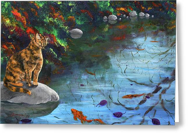 Cat Reflection Greeting Cards - Autumn Reflections Greeting Card by Laura Iverson