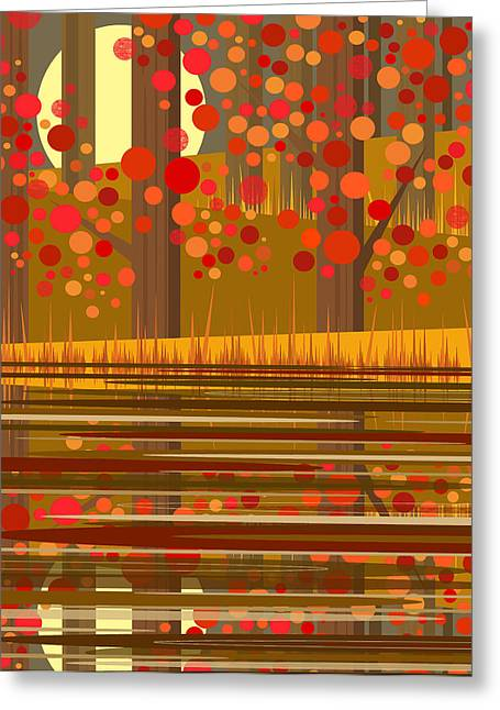 Minimalist Landscape Greeting Cards - Autumn Reflections Greeting Card by Val Arie