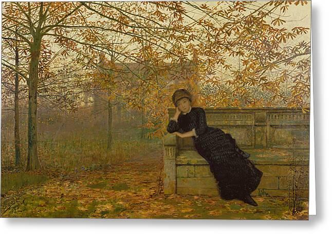 Autumn Regrets Greeting Card by John Atkinson Grimshaw