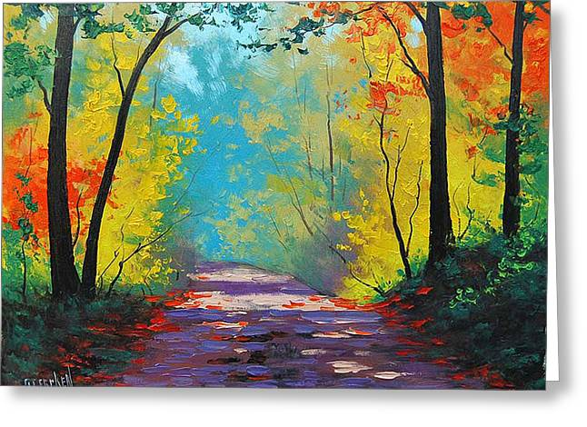 Fall Trees Greeting Cards - Autumn road Greeting Card by Graham Gercken