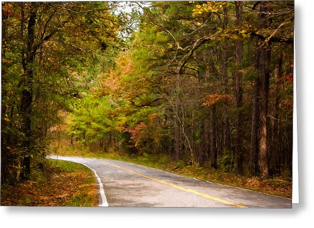 Canon 40d Greeting Cards - Autumn Road Greeting Card by Lana Trussell