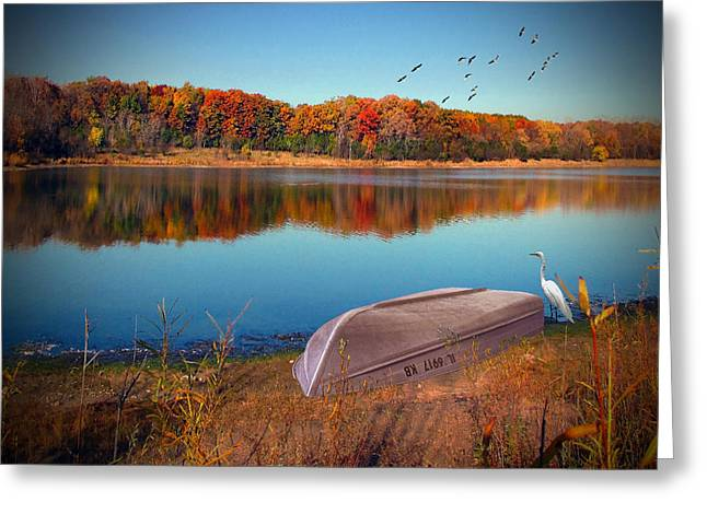 Pond In Park Greeting Cards - Autumn Serenade Greeting Card by Cedric Hampton