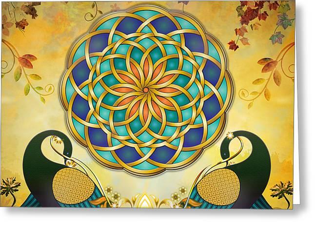 Autumn Mandala Greeting Cards - Autumn Serenade - Dawn Version Greeting Card by Bedros Awak