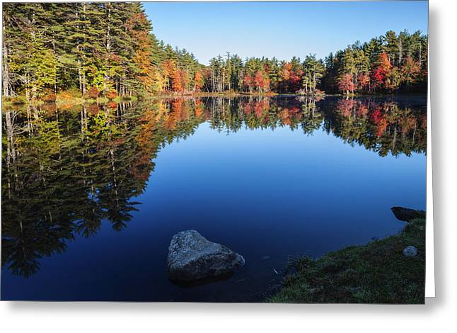 Reflections Of Sky In Water Greeting Cards - Autumn serenity in Maine USA Greeting Card by Vishwanath Bhat
