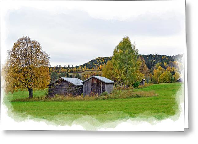 Landscape Framed Prints Greeting Cards - Autumn Sheds Greeting Card by Torfinn Johannessen